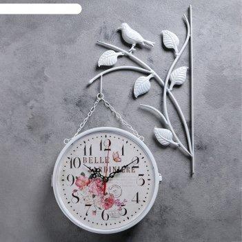 Часы настенные двойные, серия: садовые, птички на ветке, белые, d=23 см