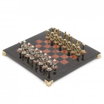 Шахматы атлас камень змеевик креноид доска 28х28 см