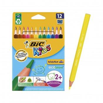 Карандаши трехгранные 12 цветов bic kids evolution ecolutions, пластиковые