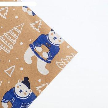 Бумага крафтовая бурая в рулоне «полярные мишки», 0.68 x 7 м