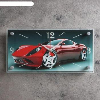 Часы настенные, серия: транспорт, спорткар, 19х39 см