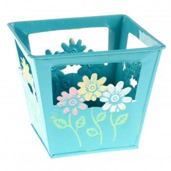 Кашпо оцинкованное цветочки 15*13*15 см, голубое
