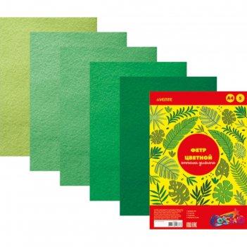 Фетр цветной, набор a4, 2 мм, devente, 5 листов х 5 цветов, «оттенки зелён