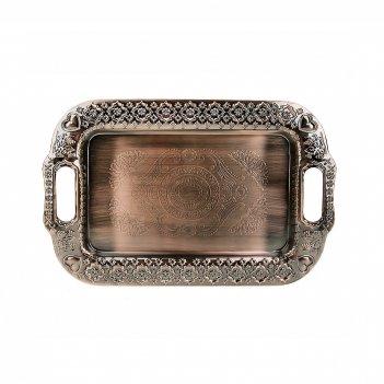 Поднос сервировочный (медь) 34*22*2см. (металл с гальваническим покрытием)