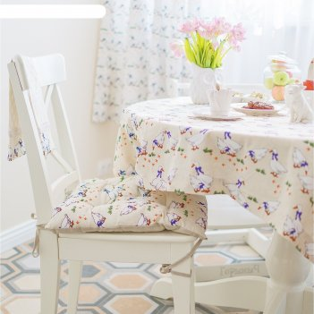 Подушка на стул, размер 45 x 45 см, принт гуси, цвет серый
