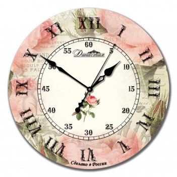 Настенные часы из дерева династия 02-018 роза ретро