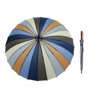 Зонт-трость полуавтомат, 2400, r=55см, цвет жёлто-синий