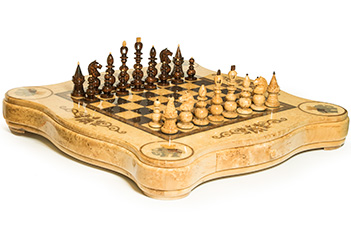 Шахматы большие слон карельская береза 110см