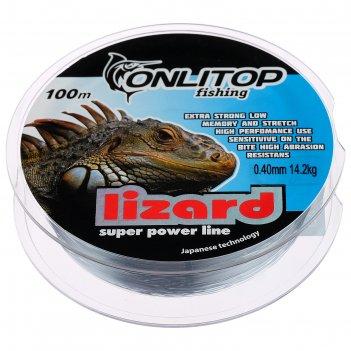 Леска капрон lizard серая d=0,4 мм, 100 м, 14,2 кг