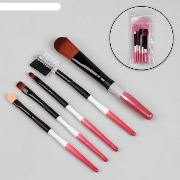 Набор кистей для макияжа, 5 предметов, разноцветный