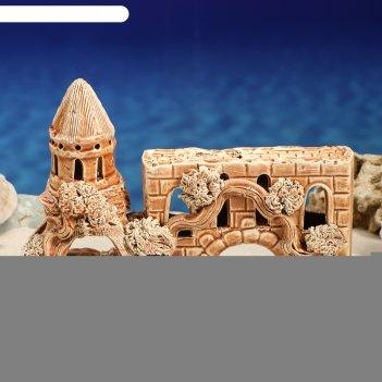 Декорация для аквариума замок с аркой-переходом, 10 х 26 х 17 см