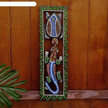 Панно настенное дерево геккон и черепаха 48х15х1,5 см