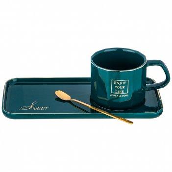 Чайный набор break time на 1пер.  3пр.  220мл, зеленый (кор=36наб.)