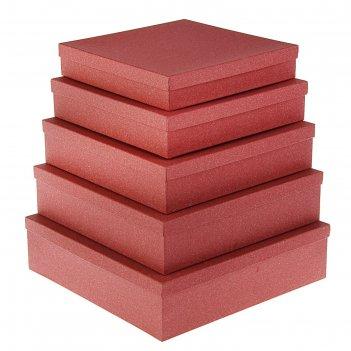 Набор коробок 5в1 бордовый ковролин, с тиснением, 34 х 34 х 9 - 26 х 26 х