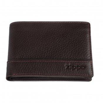 Портмоне zippo, коричневое, натуральная кожа, 11,2x2x8,2 см