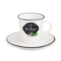 Чашка с блюдцем чай, объем: 0,3 л, материал: фарфор, цвет: белый, декор, с