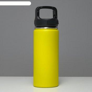 Термос турист1000 мл, сохраняет тепло 24 ч, крышка карабин, жёлтый