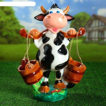 Садовая фигура корова с ведрами 50 см