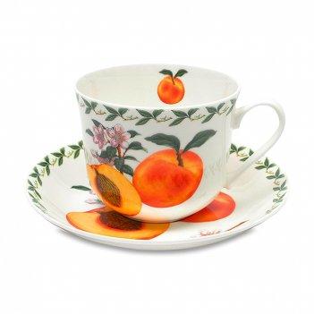 Чашка чайная с блюдцем «абрикос», объем: 480 мл, материал: фарфор, цвет: б