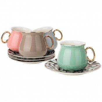 Чайный набор на 4пер. 8пр. 220мл, 4 цвета: серый, кофейный, розовый, зелен
