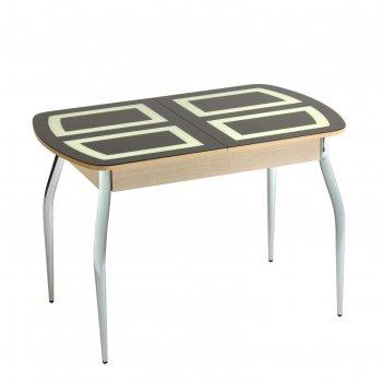 Стол раздвижной квадро 1100/1500х700х770 стекло шоколад/белфорт/изогнутое