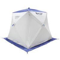 Палатка призма 200 (2-сл) с 1 входом, люкс в95т1, бело-синяя