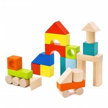 Конструктор городок наполовину окрашенный, 27 элементов