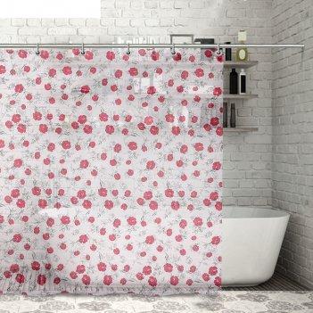 Штора для ванной 180x180 см пышные розы, peva