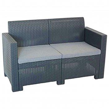 Диван 2х местный (искусственный ротанг) nebraska sofa 2 цвет венге.