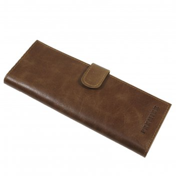 Визитница на кнопке 36/72, натуральная кожа, цвет коричневый