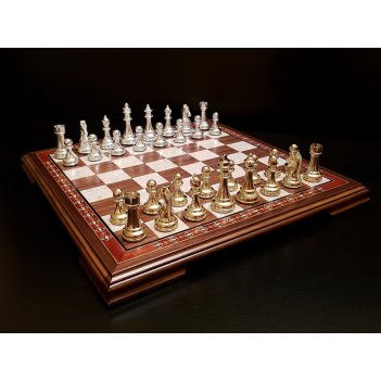 Шахматы поединок венге нескладные с металлическими фигурами (цвет фигур -