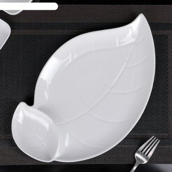 Блюдо с соусником «классика.лист», 34x21 см