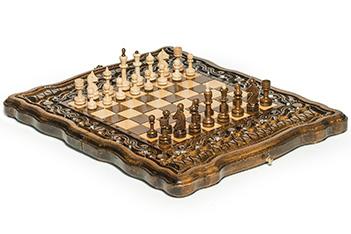 Шахматы + нарды резные бриз 30, haleyan (30х30см)