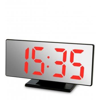 Ял-07-04/5 часы электронные зеркальные (черное дерево с красной подсветкой