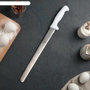 Нож для бисквита, крупные зубчики, ручка пластик, рабочая поверхность 30 с