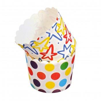 Набор бумажных форм для выпечки кексов люкс (d 50мм, h 45 мм), 24 штуки, ц