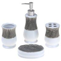 Набор для ванной 4 предмета (дозатор, мыльница, 2 стакана), сетка