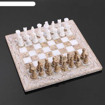 Шахматы, 25х25 см, оникс, узор светлый