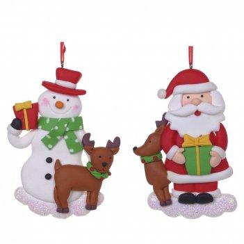 Украшение новогоднее снеговик/дед мороз, l7,5 w1,2 h11,5 см, 2в.