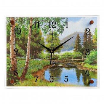 Часы настенные, серия: природа, мостик через речку, 30х40  см, микс
