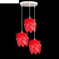 Люстра-подвес шишка, 3 лампы, красный