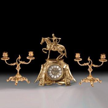 Часы настольные всадник с канделябрами на 2 свечи, набор из 3 предм.