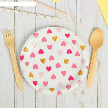 Тарелка бумажная сердца