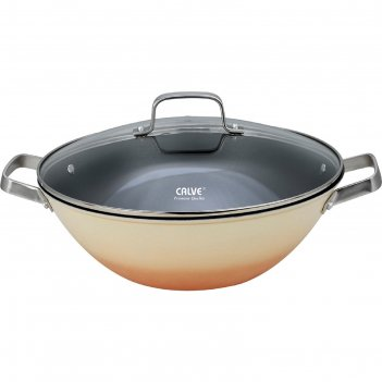 Сковорода-вок d=32 см, calve, с крышкой, чугун