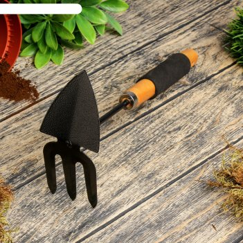 Мотыжка комбинированная, длина 30 см, деревянная ручка с поролоном