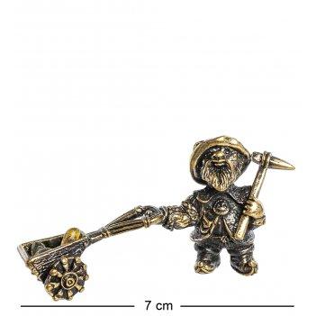Am- 974 фигурка гном с тележкой (латунь, янтарь)