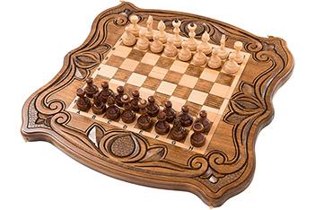 Шахматы + нарды резные 50, am451, 48х48см