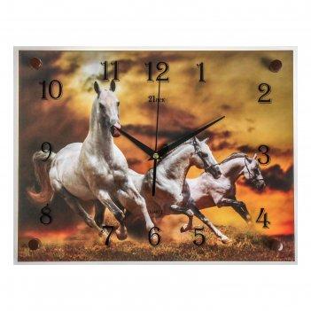 Часы настенные прямоугольные белые лошади, 40х30 см