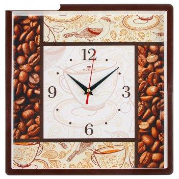 Часы настенные квадратные кофе, 30х30 см, обод чёрный