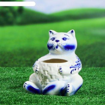Фигурное кашпо 1 л котик гжель